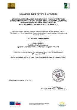 Oznámenie o zmene vo výzve č. VI/PRV/MAS81 - tokaj