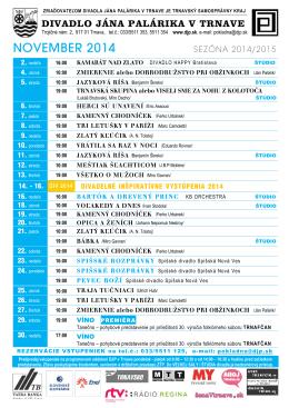 Program Divadla Jána Palárika v Trnave na november 2014