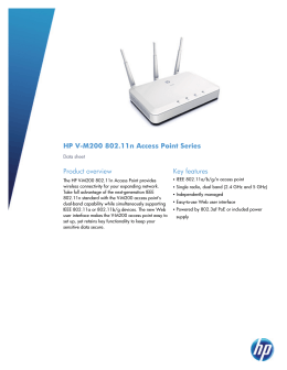 HP V-M200 802.11n Access Point Series - US English