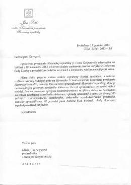 Odpoveď vedúceho Kancelárie prezidenta SR Jána Šotha