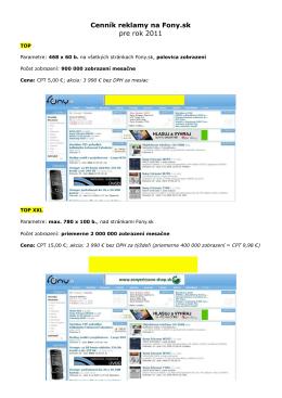 Cenník reklamy na Fony.sk pre rok 2011