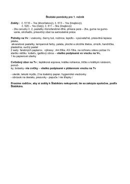 Školské pomôcky pre 1. ročník Zošity : č. 5110 – 1ks