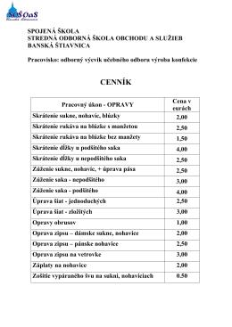 Krajčírske služby - cenník - Stredná odborná škola obchodu a služieb