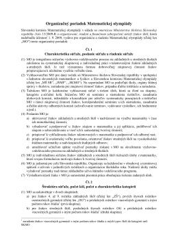 Organizačný poriadok matematickej olympiády