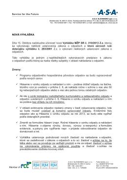 Vyhláška MŽP SR č. 310/2013 Z.z. ktorou sa vykonávajú