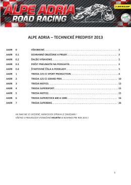 Alpe Adria cup technické predpisy 2013