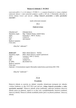 Rámcová dohoda č. 10-2014 - Základná škola Gemerská 2 Košice