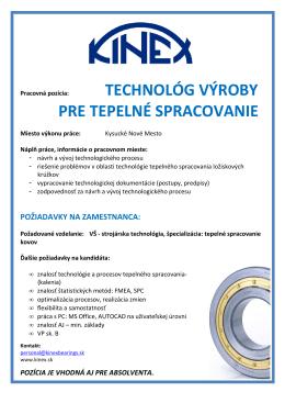 Plagát s ponukou pozície-technológ výroby pre TS