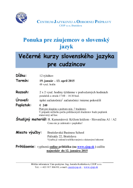 Večerné kurzy slovenčiny pre cudzincov – január 2015