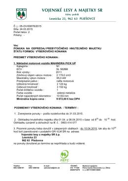 Výberové konanie - Vojenské lesy a majetky SR, š.p.