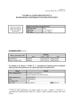 Návrh na zápis spoločenstva do registra pozemkových spoločenstiev