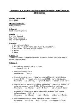 zápisnica 2. schôdze výboru RZ