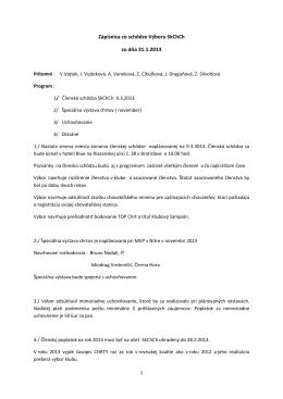 Zápisnica zo schôdze Výboru 31.1.2013