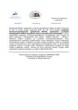 Ministerstvo hospodárstva a výstavby SR Spoločnosť RETOP