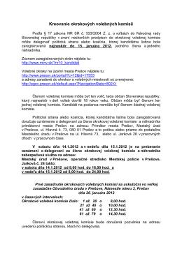 Kreovanie okrskových volebných komisií