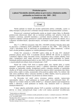Priebežná správa o plnení Národného akčného plánu na prevenciu