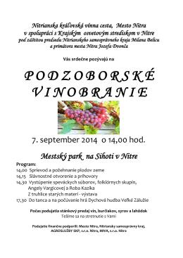 pozvánka v pdf - Nitrianska kráľovská vínna cesta