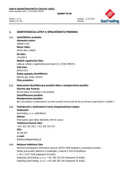 Karta bezpečnostných údajov - zemný plyn