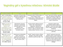 Vaginálny gél s kyselinou mliečnou: klinické štúdie 1