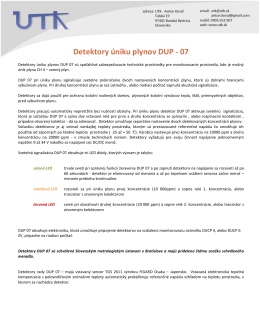 Popis produktu DUP 07 na stiahnutie