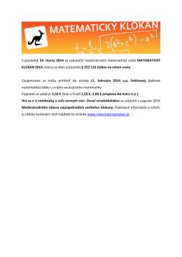 V pondelok 24. marca 2014 sa uskutoční medzinárodná