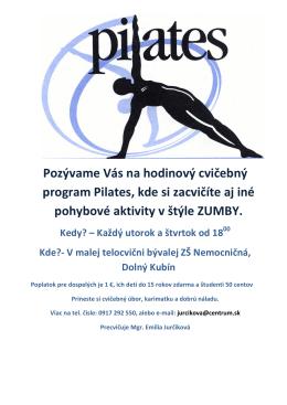Pozývame Vás na hodinový cvičebný program Pilates
