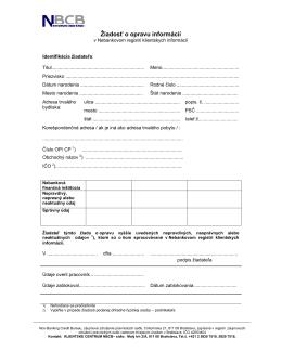 Žiadosť o opravu údajov v Nebankovom registri klientskych