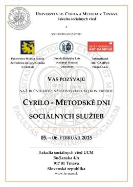 cyrilo - metodské dni sociálnych služieb