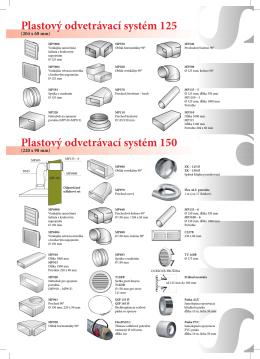 Plastový odvetrávací systém 125 Plastový odvetrávací systém 150
