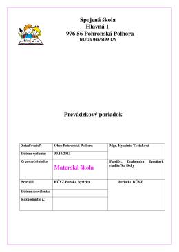 Materská škola - Spojená škola, Hlavná 1, 976 56 Pohronská Polhora