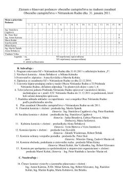 Záznam o hlasovaní poslancov obecného