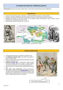 3.3 Rozpad Osmanskej ríše a Balkánsky polostrov
