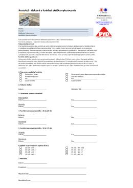Protokol - tlaková a funkčná skúška vykurovania - H