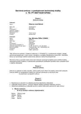 Servisná zmluva o poskytovaní technickej služby č. TS- PT