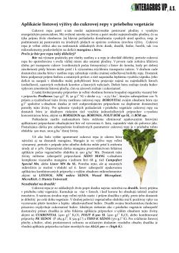 Aplikácie listovej výživy do cukrovej repy v priebehu