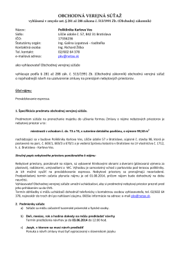 Oznámenie o vyhlásení OVS na podávanie návrhov na uzavretie