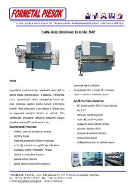 Hydraulický ohraňovací lis model HAP