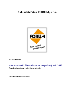 Ako uzatvoriť účtovníctvo za rozpočtový rok 2013