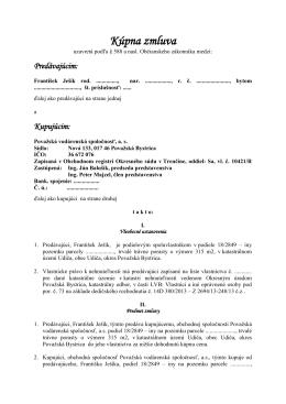 Kúpna zmluva - František Ješík - Považská vodárenská spoločnosť