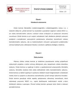 štatút etickej komisie - Národný endokrinologický a diabetologický
