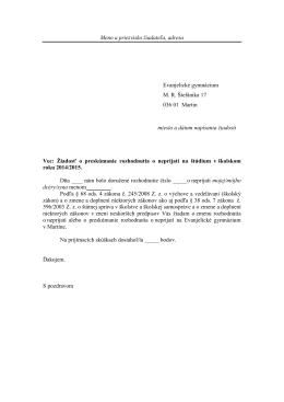 Žiadosť o preskúmanie rozhodnutia (VZOR)