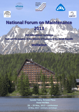 National Forum on Maintenance 2013