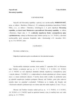 Najvyšší súd 7 Cdo 153/2014 Slovenskej