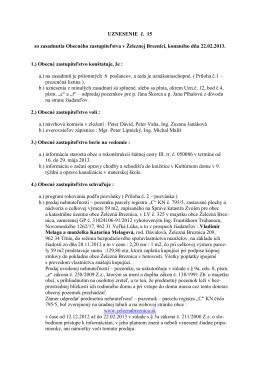 Uznesenie č.15 22.2.2013