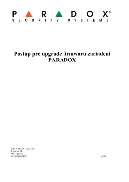Postup pre upgrade firmwaru zariadení PARADOX