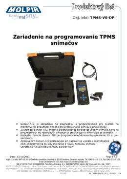 Zariadenie na programovanie TPMS snímačov