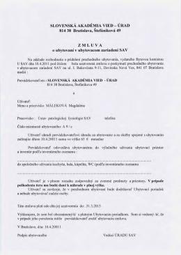 zmluva o ubytovani - Úrad SAV