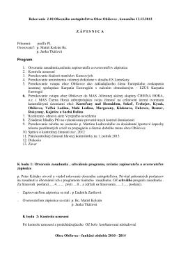 Zápisnica z 19.schôdze OZ zo dňa 4.3.2013