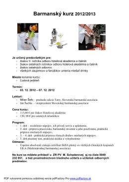 Barmanský kurz 2012/2013
