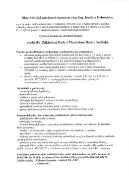 riaditel`a Zii<ladnej Skoly s Materskou Skolou Sedliskf